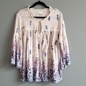 Lucky Brand Cream, Blue & Red Floral Flowy Blouse